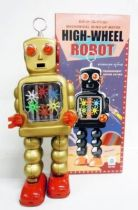 Robot - Mechanical Walking Tin Robot - High-Wheel Robot (sparkling) gold version (Ha Ha Toy)