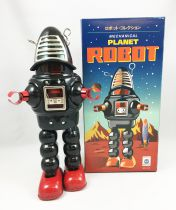 Robot - Mechanical Walking Tin Robot - Planet Robot (sparkling) Black Ha Ha Toy MS430N
