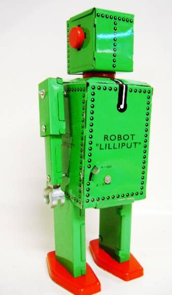 Robot - Mechanical Walking Tin Robot - Robot Lilliput (Q.S.H.) green