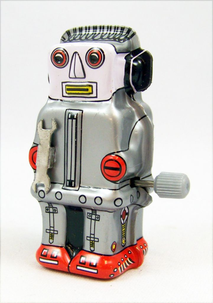 Robot - Mini Wind-Up en Tôle - Zoomer Robot (gris) Yonezawa