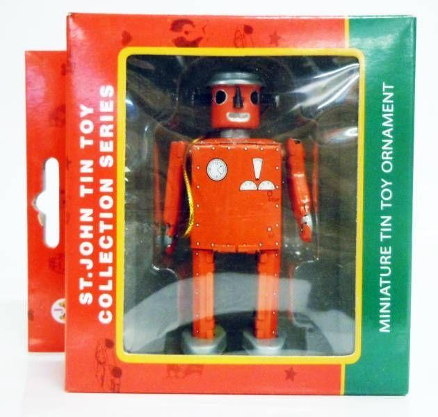 Robot - Miniature Tin Robot Ornament - Atomic Robot Man (St.John Tin Toy) red