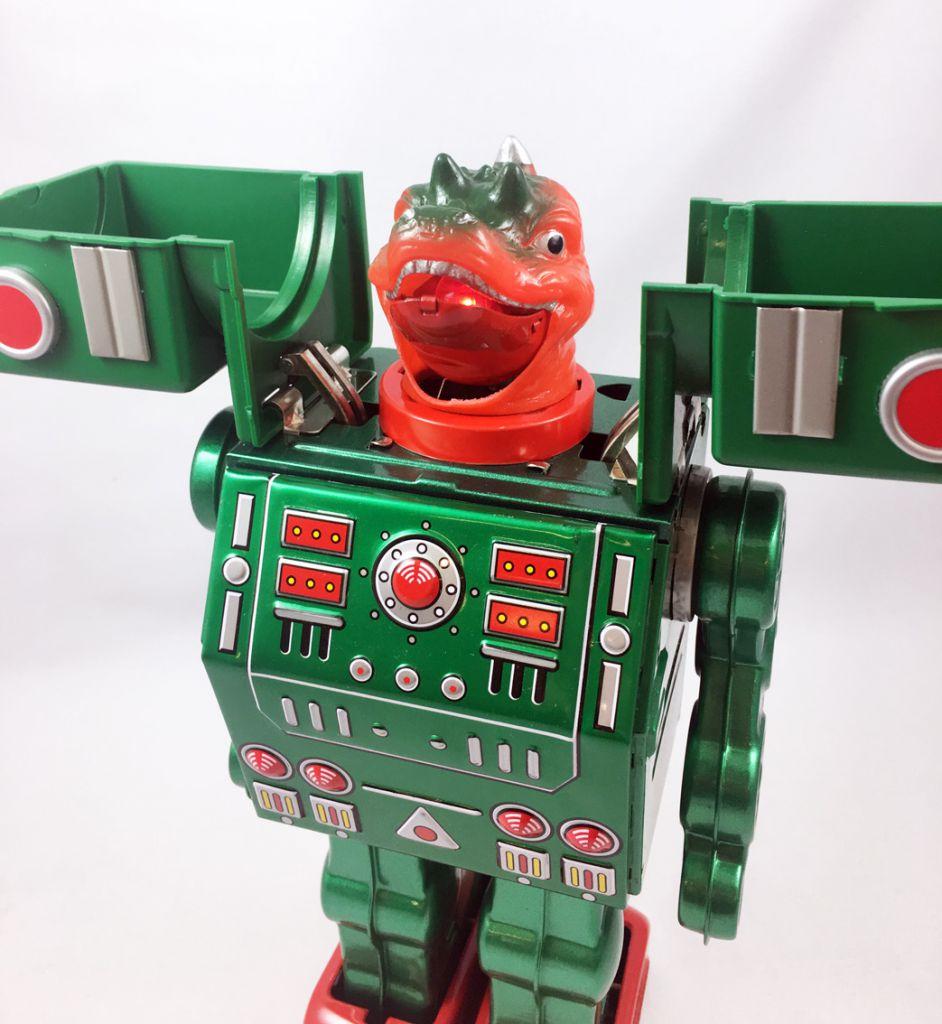 Robot - Robot Marcheur en Tôle à Piles - Dino Robo (Metal House reproduction Horikawa)
