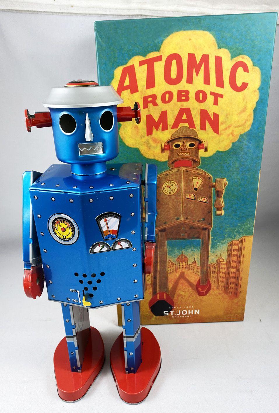 Robot - Robot Marcheur Mécanique en Tôle - Atomic Robot Man Géant Bleu (St.John Tin Toy)