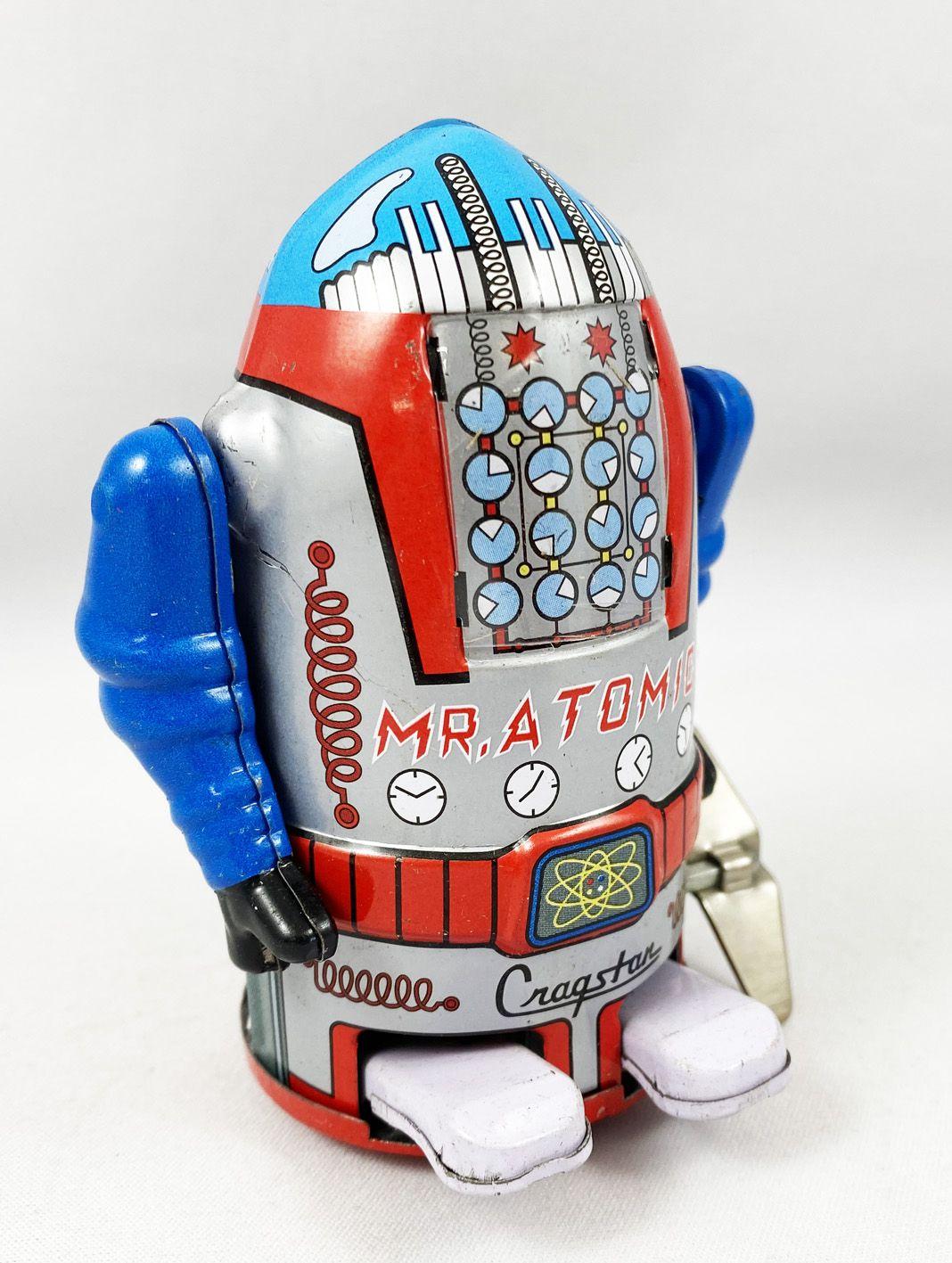 Robot - Robot Marcheur Mécanique en Tôle - Cragstan Mr. Atomic Gris (Ha Ha Toy) MS632