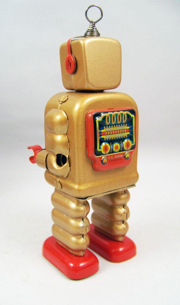 Robot - Robot Marcheur Mécanique en Tôle - High Wheel Robot (St.John Tin Toy) 03