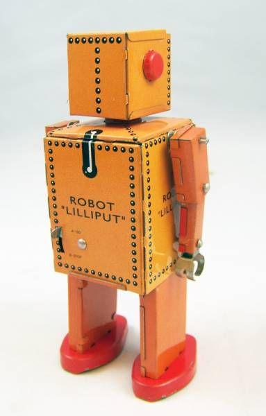 Robot - Robot Marcheur Mécanique en Tôle - Lilliput Robot (St.John Tin Toy)
