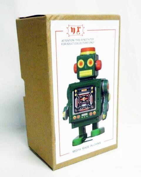 Robot - Robot Marcheur Mécanique en Tôle - Mechanical Robot Vert (N.R.)