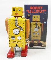 Robot - Robot Marcheur Mécanique en Tôle - Mini Robot Lilliput Jaune (Ha Ha Toy) MS651