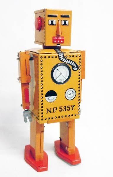 Robot - Robot Marcheur Mécanique en Tôle - Robot Lilliput (Q.S.H.) orange