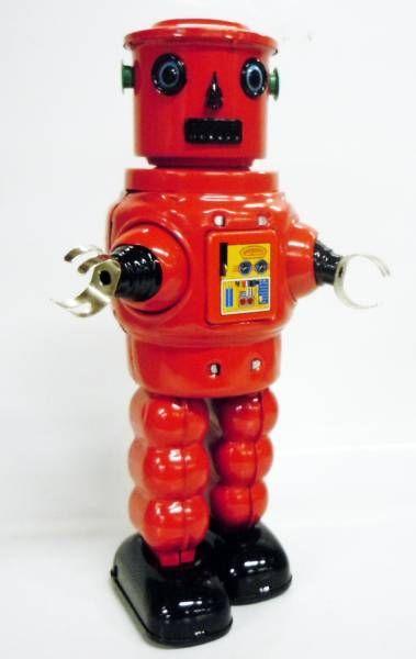 Robot - Robot Marcheur Mécanique en Tôle - Roby Robot (rouge)