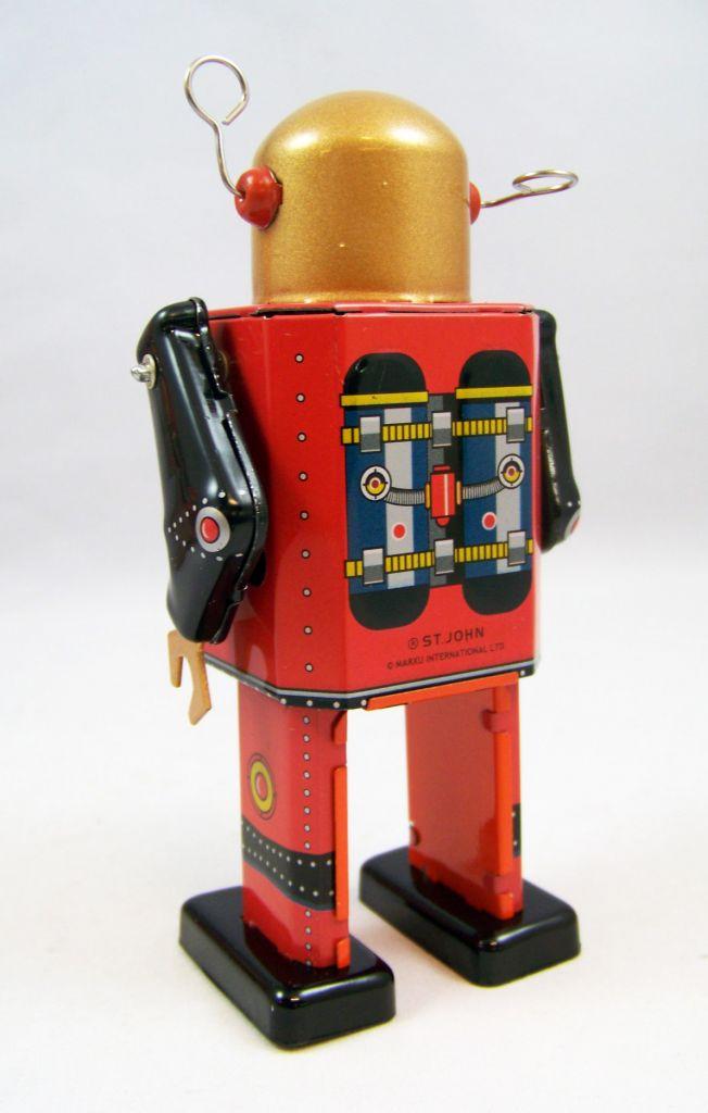 Robot - Robot Marcheur Mécanique en Tôle - TV Spaceman (St.John Tin Toy) 03