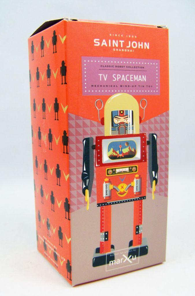 Robot - Robot Marcheur Mécanique en Tôle - TV Spaceman (St.John Tin Toy) 04