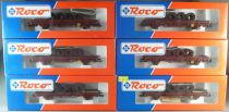 Roco 47622 Ho Sncf 6 x Flat Wagon Ks J5 Type with Netting Rolls Brown livery Mint in box