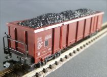 Roco N Scale Sncf Open Wagon with bogies Eaos Type Coal Load