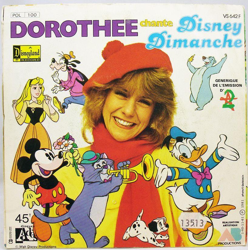 Rox et Rouky  Disney Dimanche - Disque 45T - Générique par Dorothée - Disque Ades 1981 (1)