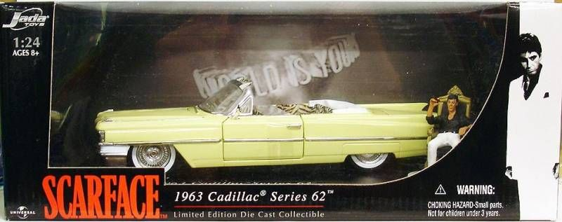 Scarface - 1963 Cadillac Serie 62 with Tony Montana (Al Pacino) - 1:24 Diecast Collectible