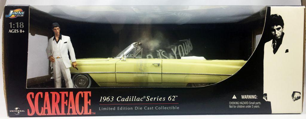 Scarface - Jada Toys - 1963 Cadillac Serie 62 avec Tony Montana (Al Pacino) - 1/18ème Diecast Collectible