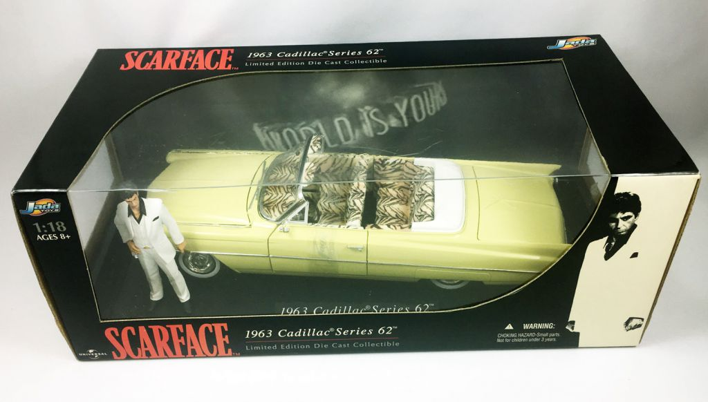 Scarface - Jada Toys - 1963 Cadillac Serie 62 with Tony Montana (Al Pacino) - 1:18° Diecast Collectible