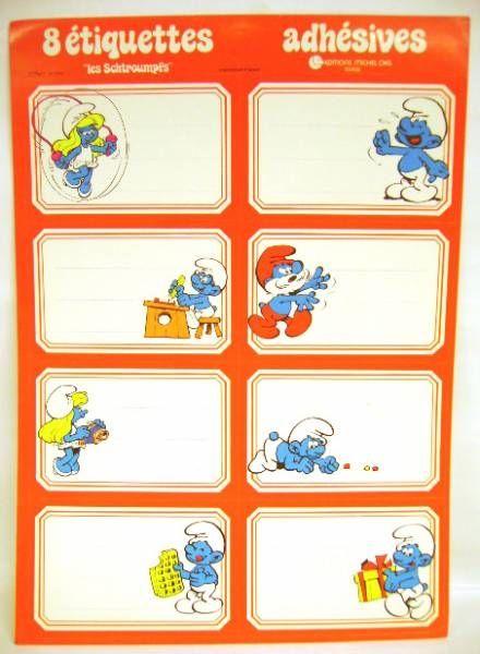 Smurfs - School self-stick labels Michel Okes Editions -  1 x self-stick labels set