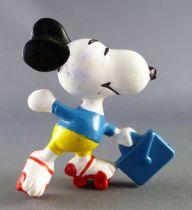Snoopy - Figurine PVC Schleich - Snoopy Ecolier en Patin à Roulette (T-Shirt Bleu)