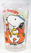 Snoopy - Verre à moutarde Amora - Les années 80 : Snoopy Fitness