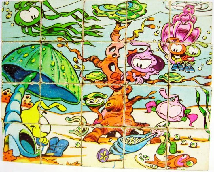 Snorky / Snorkles - Set of 20 wooden cubes - JeuJura 1985
