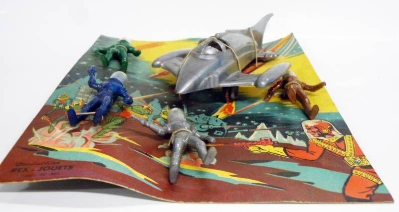 Space Toys - Production Rex-Jouets (France) Figurines Plastiques - Captain Video Spacemen & Space Ship Rocket (type Rex Mars) #2