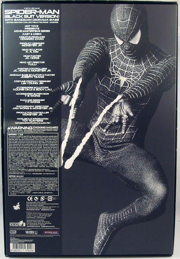Spider-Man 3 - Spidey costume noir (Tobey Maguire) avec diorama Sandman - Figurine 30cm Hot Toys Sideshow MMS165