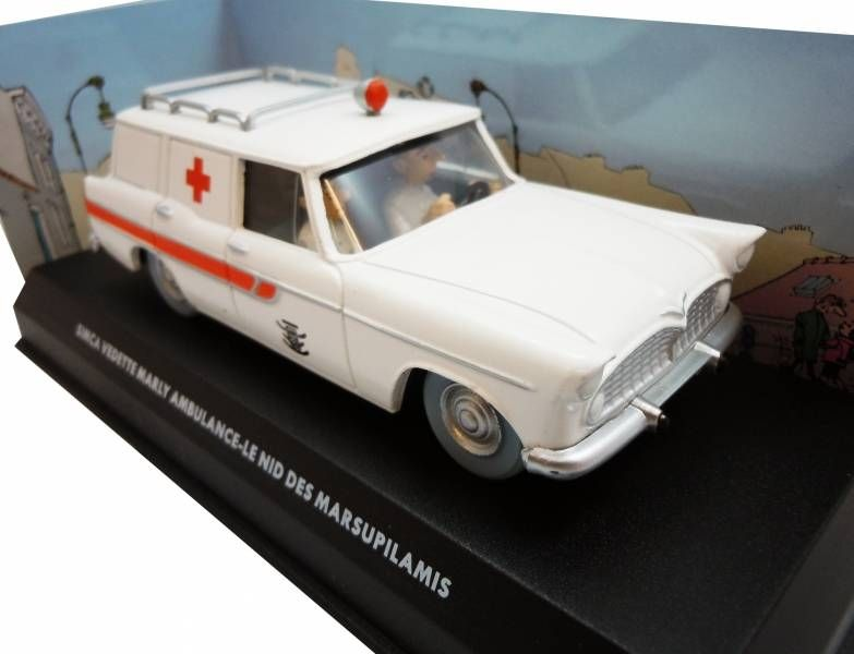 Spirou - Atlas Edtions Vehicle - Simca Vedette Marly Ambulance from The Marsupilami\'s nest (Mint in box)