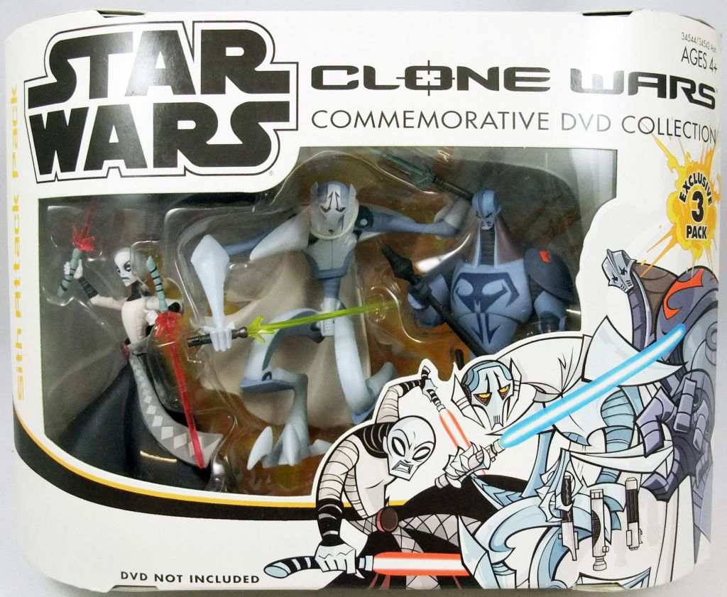 Star Wars Cartoon Network Clone Wars Hasbro Sith Attack Pack Durge Asajj Ventress General Grievous