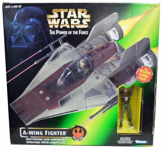 Star Wars (The Power of the Force) - Kenner - A-wing Fighter & Pilot