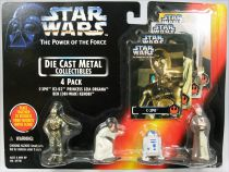Star Wars (The Power of the Force) Die Cast Metal Collectibles - Kenner - C-3PO, R2-D2, Princess Leia, Ben Kenobi 4-pack