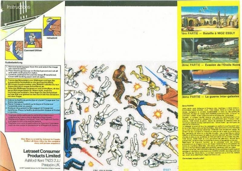 Star Wars 1978 - Rub-Down Transferts on Background scene - set of 3 parts