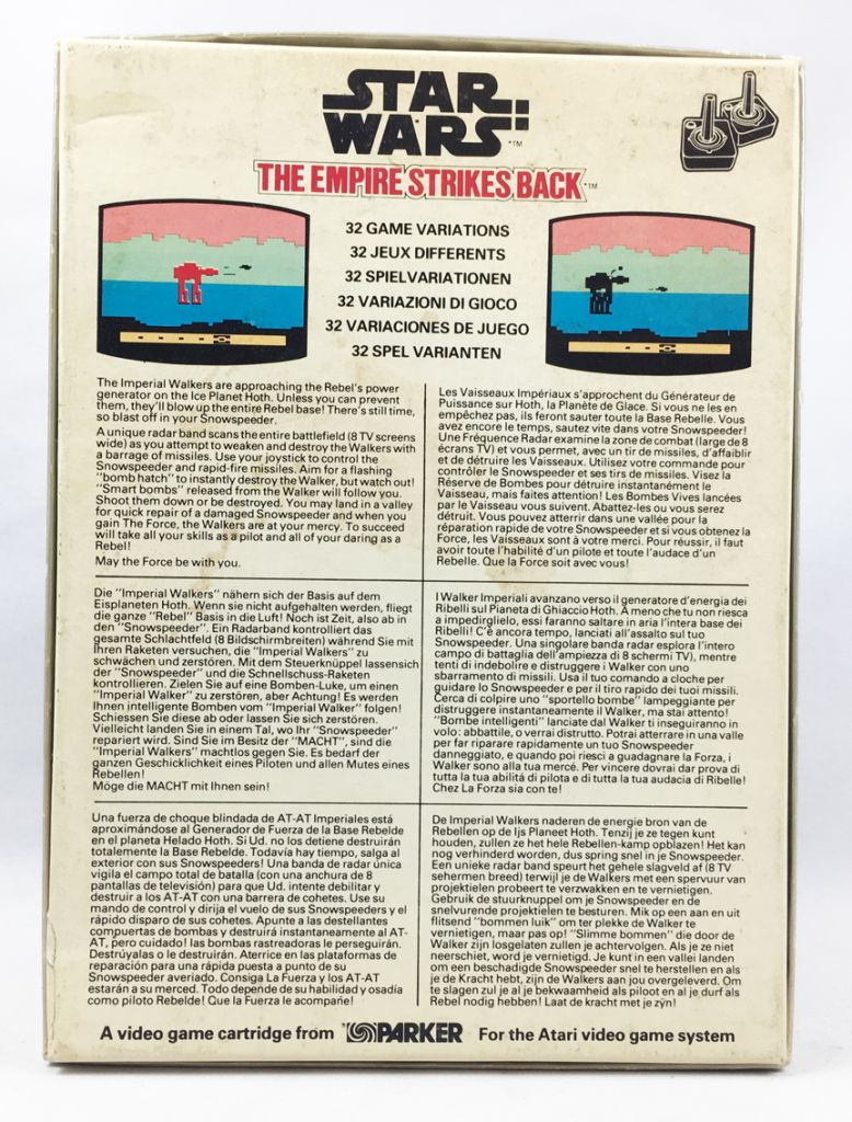 Star Wars 1982 - Parker Video Game (Atari) - The Empire Strikes Back (occasion en boite complet)