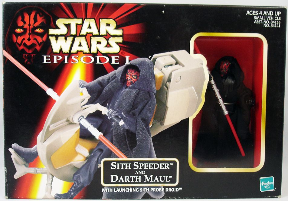 PHANTOM MENACE STAR WARS SITH SPEEDER WITH DARTH MAUL ACTION FIGURE