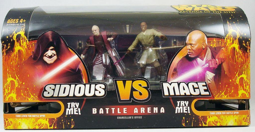 Star Wars Episode Iii Revenge Of The Sith Hasbro Battle Arena Darth Sidious Vs Mace Windu