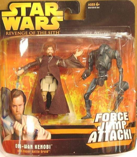 Star Wars Episode Iii Revenge Of The Sith Hasbro Obi Wan Kenobi Super Battle Droid Force Jump Attack