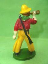 Starlux - Cow-Boys - Série 46 - Piéton Clairon & fusil en bandouilliere (rouge & jaune) (réf CB7)
