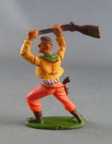 Starlux - Cow-Boys - Série 55/56 Luxe - Piéton fusil en l\'air (jaune & orange) (réf C 2132)