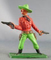 Starlux - Cow-Boys - Série 57 Ordinaire - Piéton 2 révolvers (rouge & vert (réf 130)