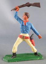 Starlux - Cow-Boys - Série 57 Ordinaire - Piéton Fusil en l\'air (bleu & jaune ) (réf 132)