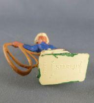 Starlux - Cow-Boys - Série 57 Ordinaire - Piéton Lasso (bleu & jaune) (réf 128)