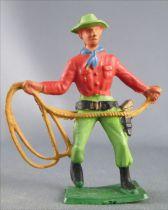 Starlux - Cow-Boys - Série 57 Ordinaire - Piéton Lasso (rouge & vert) (réf 128)