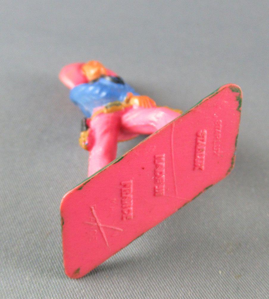 Starlux - Cow-Boys - Série 57 Ordinaire - Piéton Main sur révolver (bleu & rose) (réf 129)