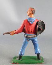 Starlux - Cow-Boys - Série 57 Ordinaire - Piéton Shériff fusil hanche (rouge & bleu) (réf 125) 2