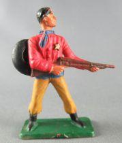 Starlux - Cow-Boys - Série 57 Ordinaire - Piéton Shériff fusil hanche (rouge & ocre) (réf 125) 2