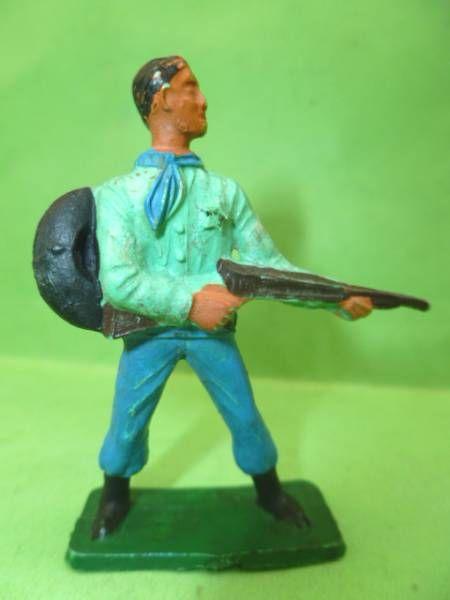 Starlux - Cow-Boys - Série 57 Ordinaire - Piéton Shériff fusil hanche (vert & bleu) (réf 125)