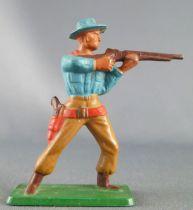 Starlux - Cow-Boys - Série 57 Ordinaire - Piéton Tireur fusil debout (bleu & ocre) (réf 121)