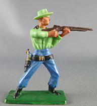 Starlux - Cow-Boys - Série 57 Ordinaire - Piéton Tireur fusil debout (vert & bleu) (réf 121)