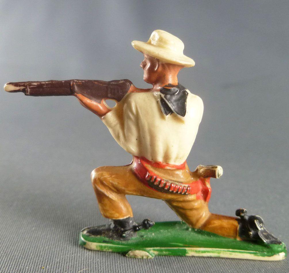 Starlux - Cow-Boys - Série 57 Ordinaire - Piéton Tireur fusil genoux (jaune & ocre) (réf 122)
